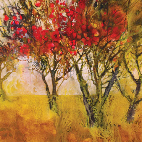 Art greeting card by Ann Blockley, Mixed media, Apple orchard