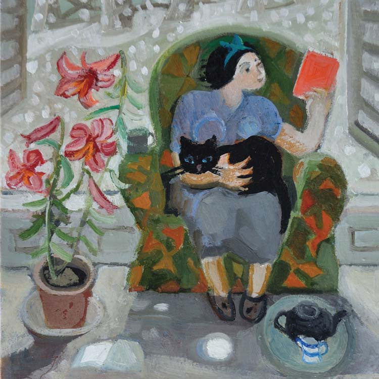 Fine Art Greeting Card, Oil on Board, A lady reading in an armchair with a cat on her lap