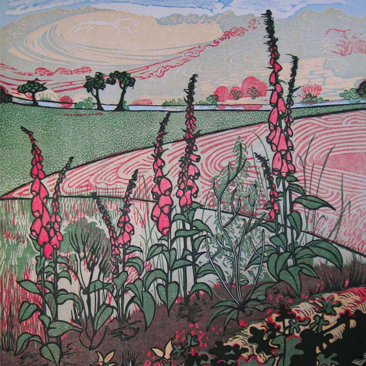 Art Greeting Card, Countryside landscape with pink foxgloves