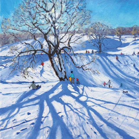 Fine Art Greeting Card, People sledging