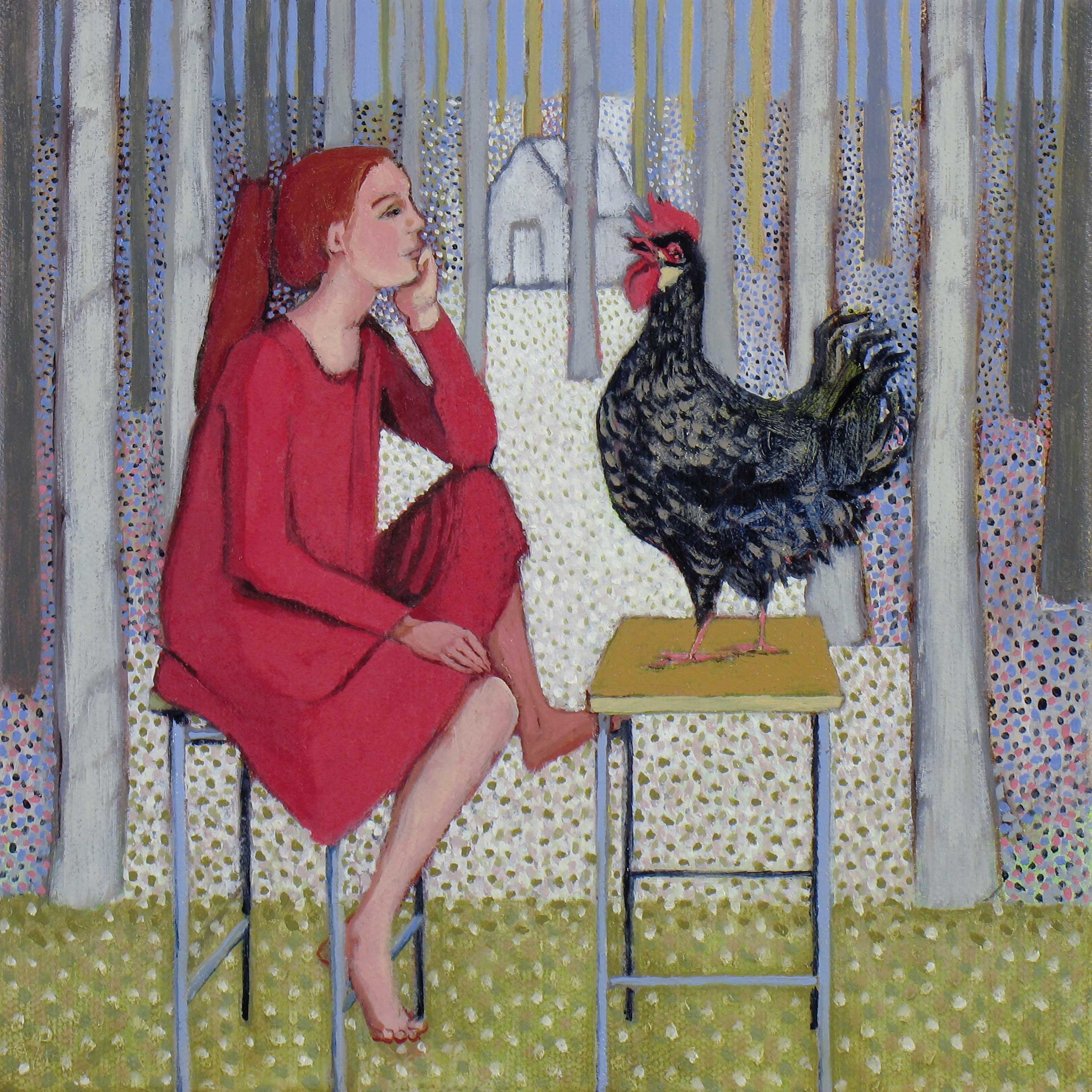 The Hen's Advice by Ann McCay, Fine Art Greeting Card, Oil on Linen, Girl on chair talking to a Cockerel