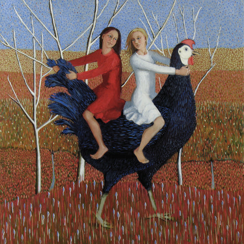 Don Quixote's Daughers by Ann McCay, Art Greeting Card, Oil on Linen, Two girls and a big chicken