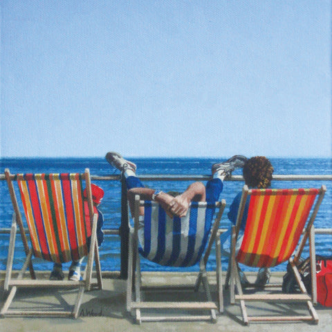 Three Deckchairs Feet Up by Andy Wood, Fine Art Greeting Card, RBA range, Three deckchairs and sea view, one person with their feet up on rail