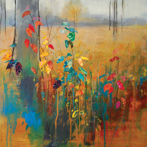 Autumn Brights by Anna Perlin, Fine Art Greeting Card, Mixed Media, Landscape with autumn coloured leaves