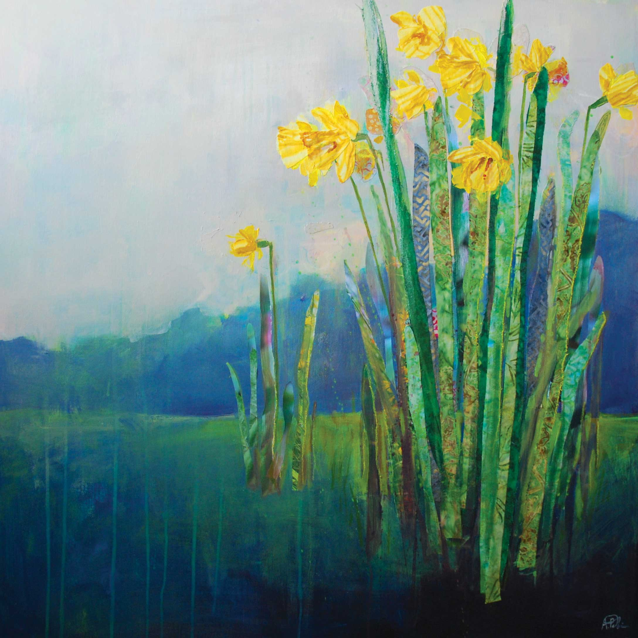 Spring Daffodils by Anna Perlin, Art Greeting Card, Mixed Media, Daffodils