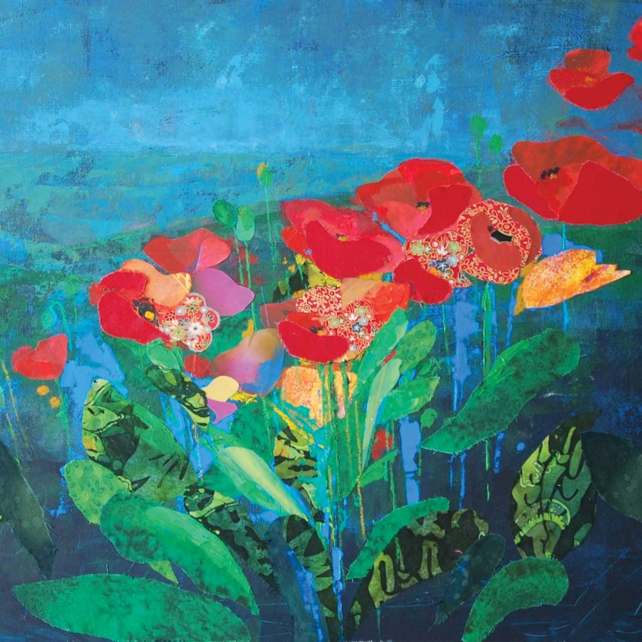 Summer by Anna Perlin, Art Greeting Card, Mixed Media, Red flowers