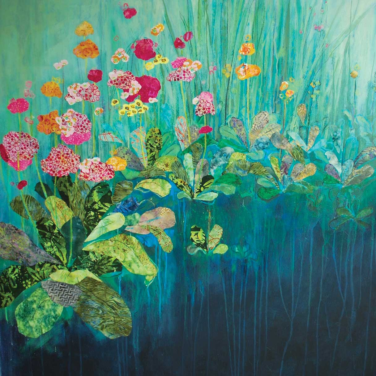 Primula by Anna Perlin, Art Greeting Card, Mixed Media, Primulas