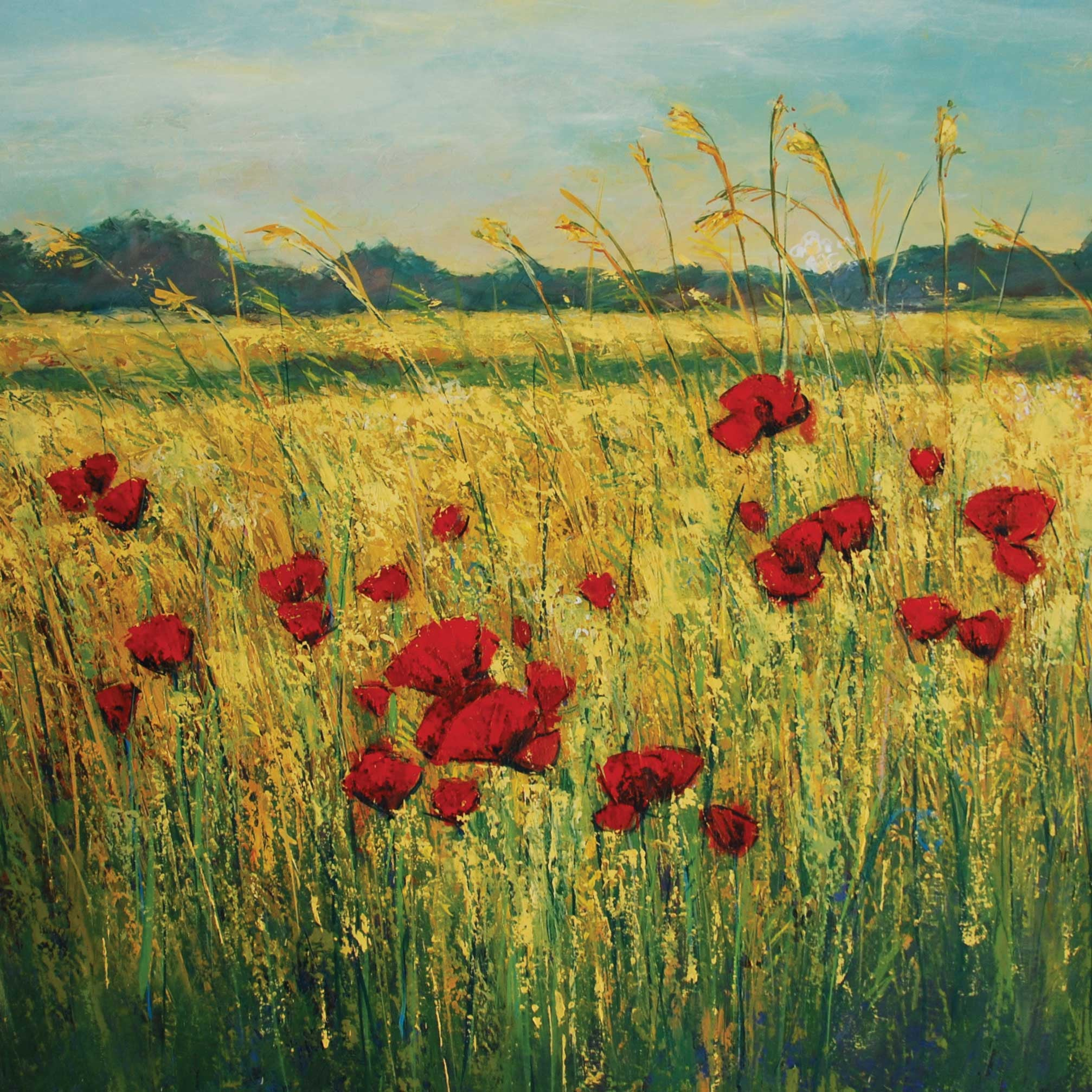 Poppies by Anna Perlin, Fine Art Greeting Card, Mixed Media, Poppy field