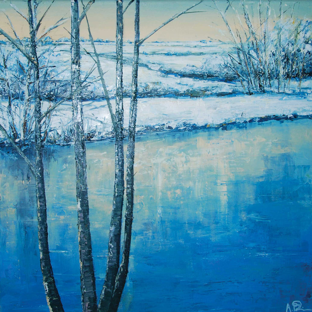 Winter Reflections by Anna Perlin, Fine Art Greeting Card, Oil on Canvas, Winter landscape with tree and frozen water