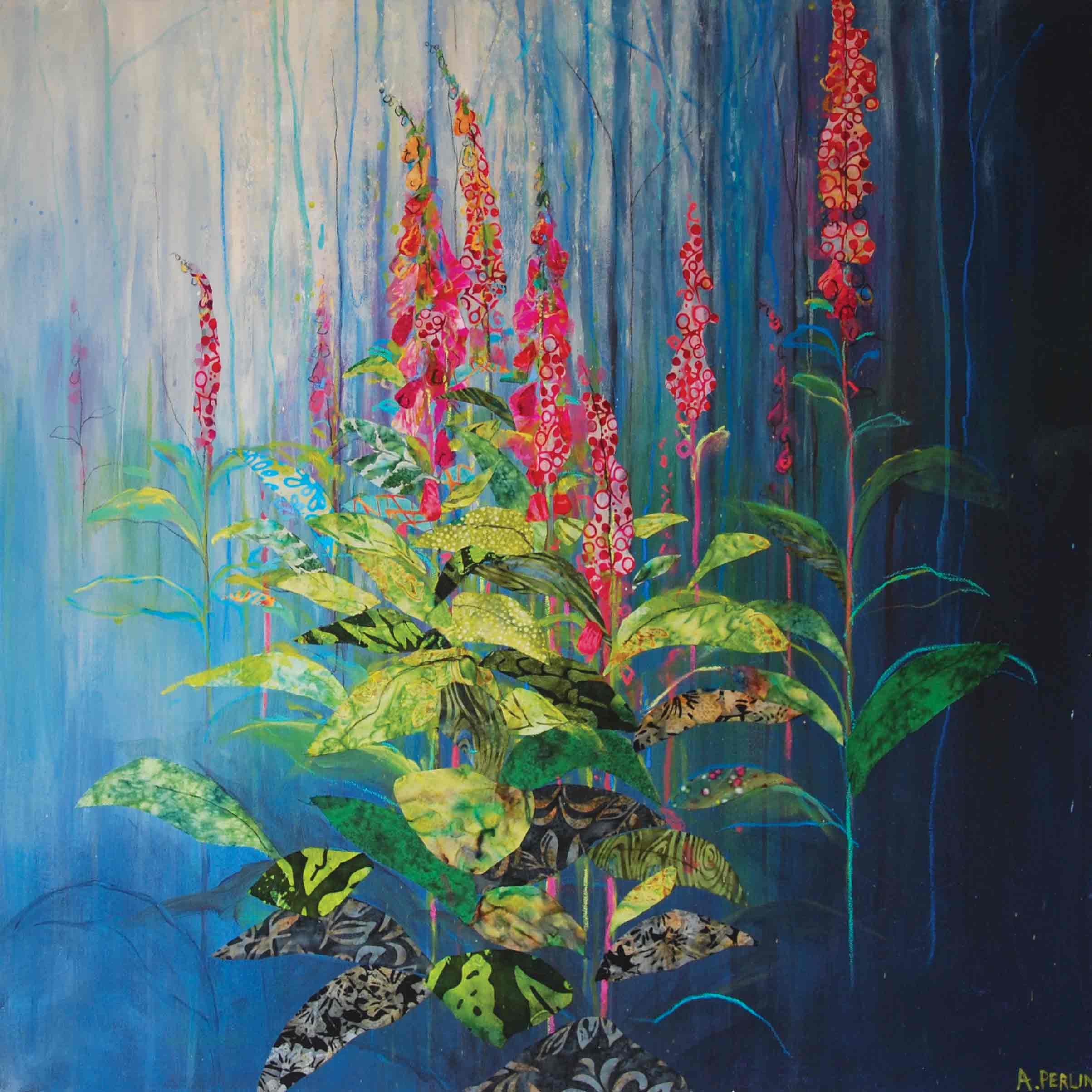 Art Greeting Card by Anna Perlin, Foxgloves, Mixed media, Foxgloves in woods