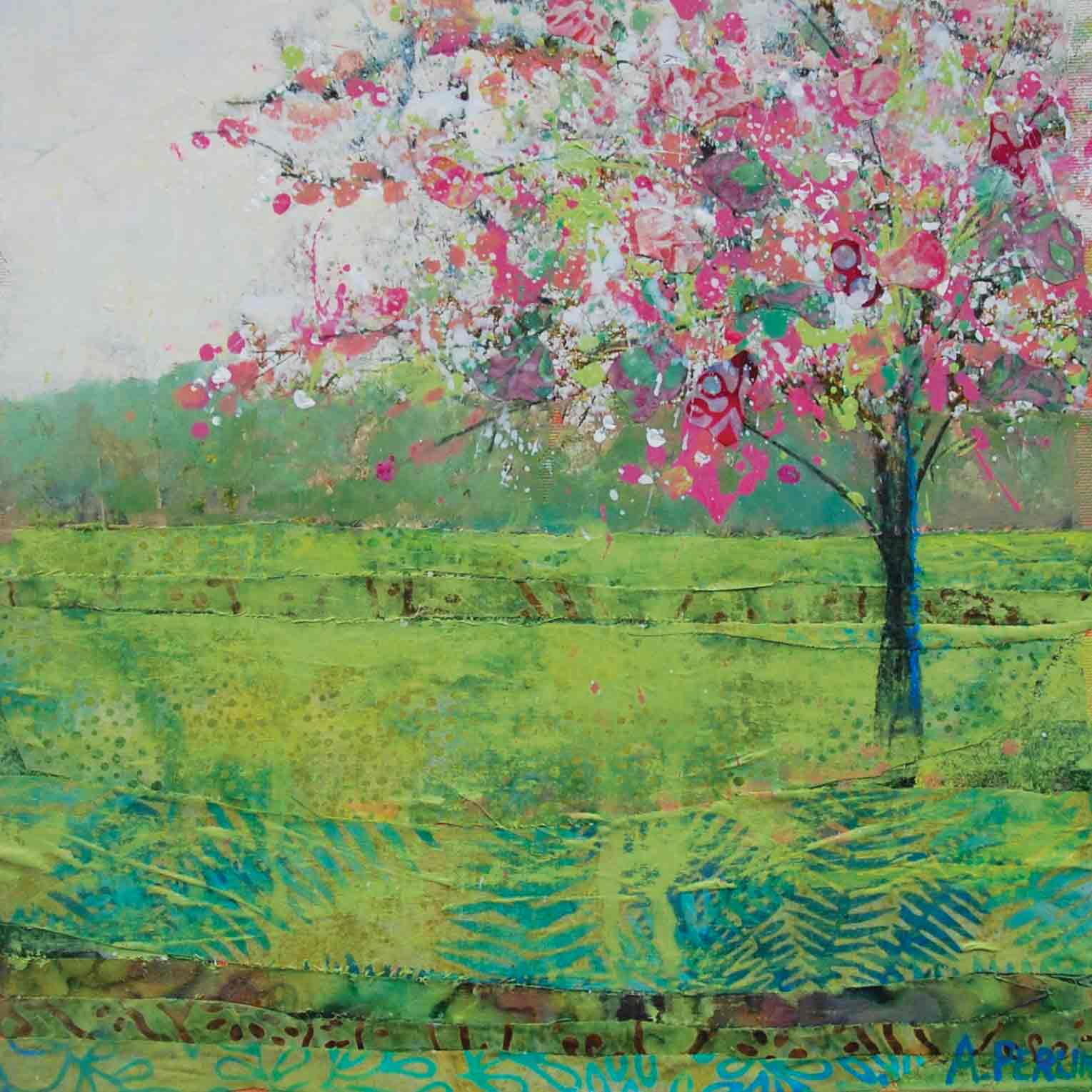 Art Greeting Card by Anna Perlin, Spring at Last, Mixed Media, Blossom tree in green field