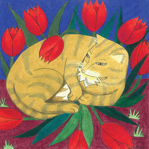 Cat in the Tulips - Charity Card