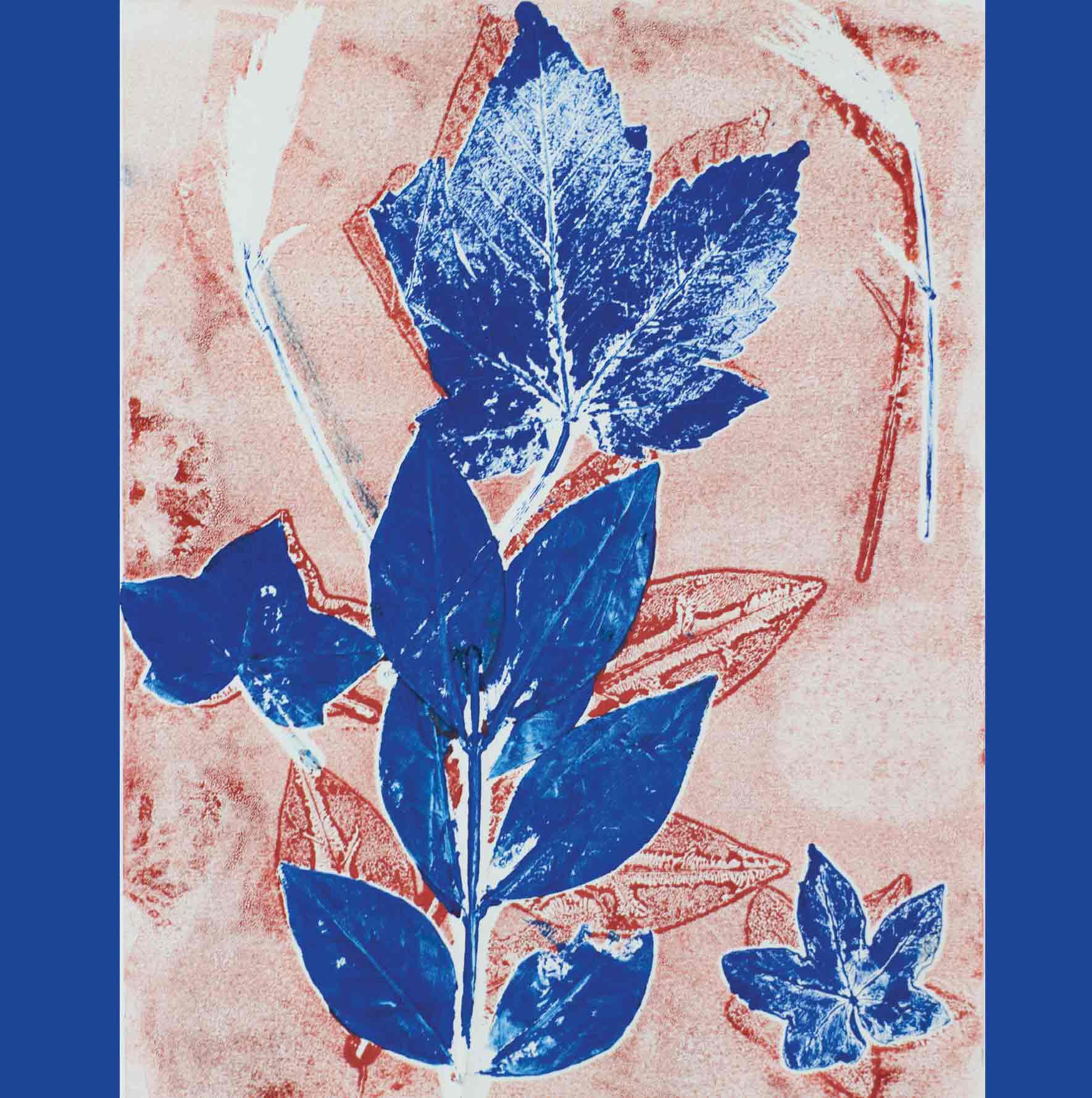 Art Greeting Card by Mel Coull, Dancing Leaves, Block print, Leaves on background