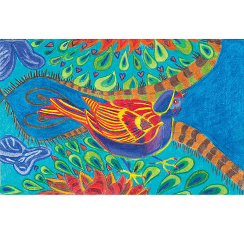 Art Greeting Card by Hannah Rogers, Rainbow bird