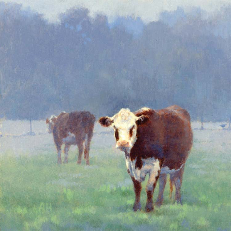 Fine Art Greeting Card, Two cows and a pheasant in a field