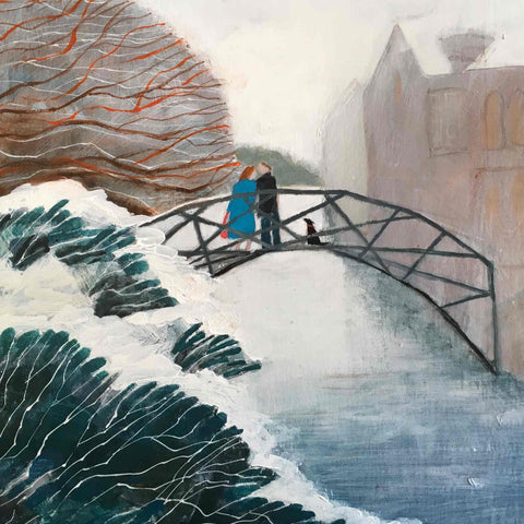 Fine Art Greeting Card by Barbara Peirson, Acrylic on Board, Couple on bridge in the snow