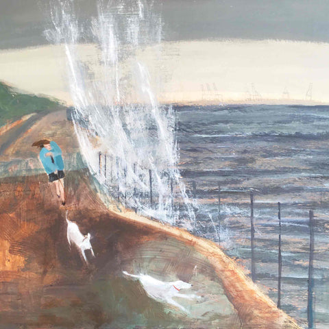 Fine Art Greeting Card by Barbara Peirson, Acrylic on Board, Woman walking two dogs along the seafront