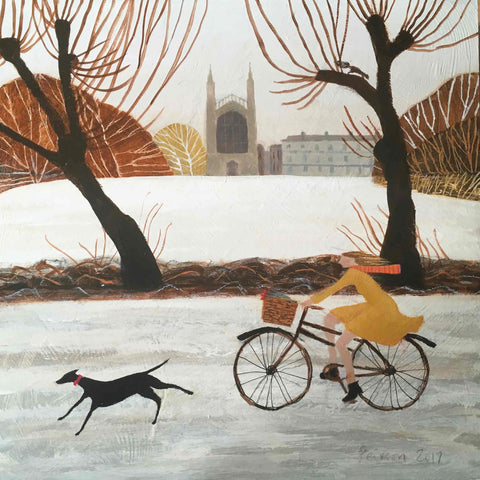 Fine Art Greeting Card by Barbara Peirson, Acrylic on Board, Woman cycling with dog in the snow