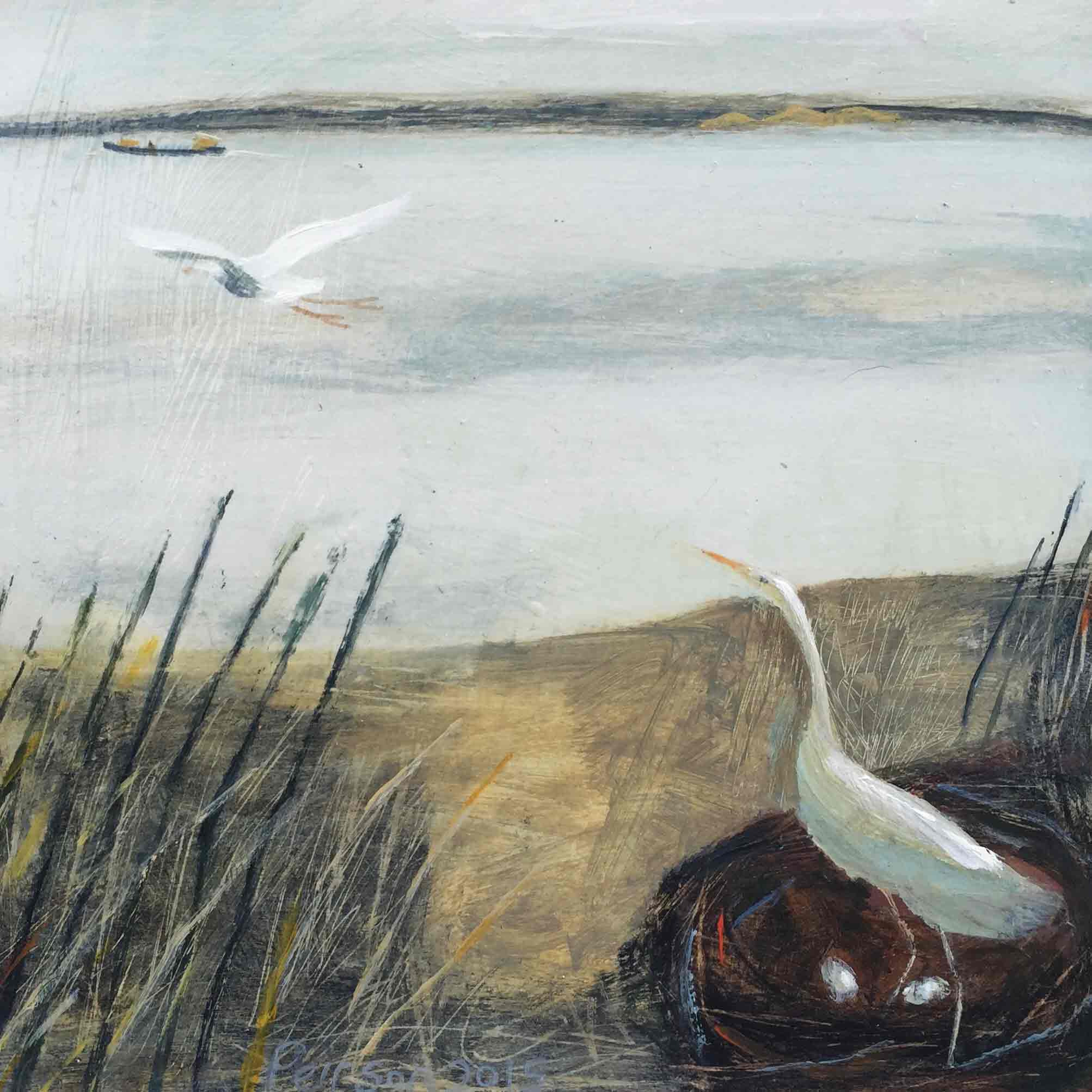 Fine Art Greeting Card by Barbara Peirson, Acrylic on Board, Egret nest