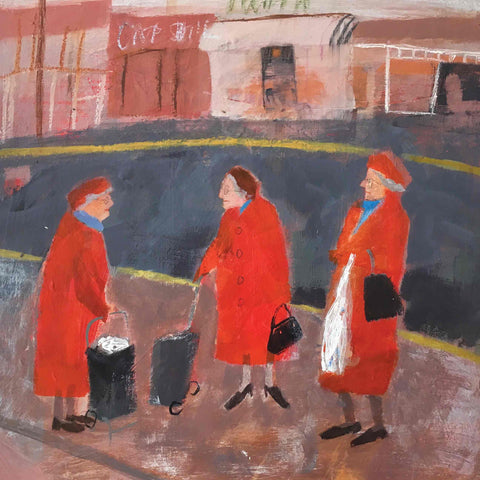 Fine Art Greeting Card by Barbara Peirson, Acrylic on Board, Three older ladies in red coats meeting in the street