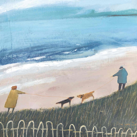 Fine Art Greeting Card by Barbara Peirson, Acrylic on Board, Dogs and owners meeting on the beach