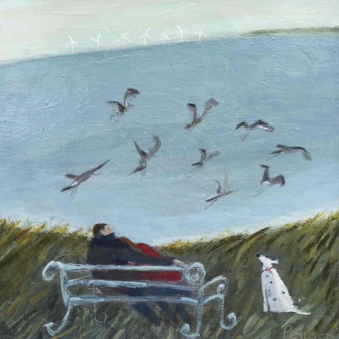 Fine Art Greeting Card by Barbara Peirson, Acrylic on Board, Couple on bench with dog and seagulls by the sea