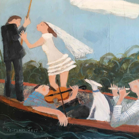 Fine Art Greeting Card by Barbara Peirson, Acrylic on Board, Wedding couple and musicians punting