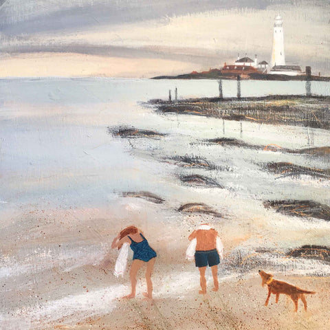 Art greeting card by Barbara Peirson, Late Afternoon Dip, acrylic on board, couple drying themselves on the beach with a dog