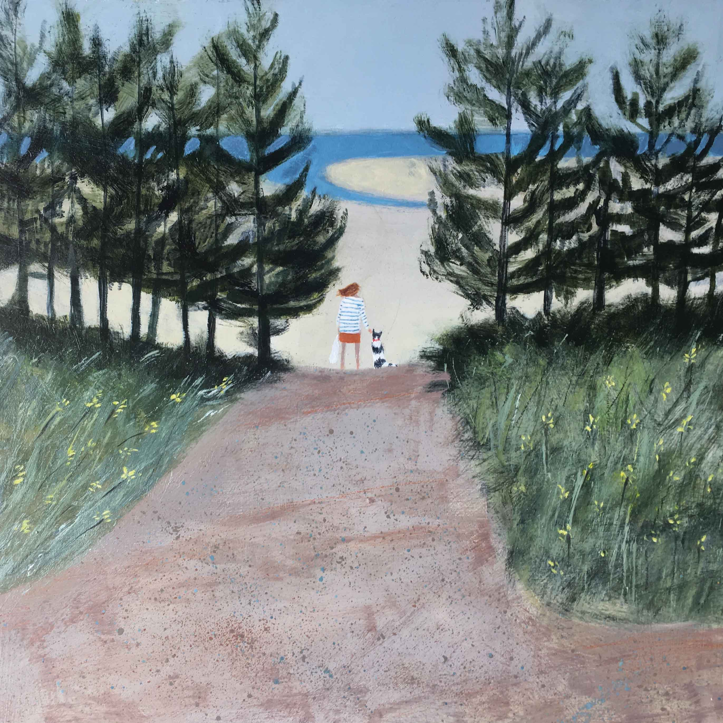 Art greeting card by Barbara Peirson, Arriving at Holkham Beach, acrylic on board, woman and dog arriving on beach through trees