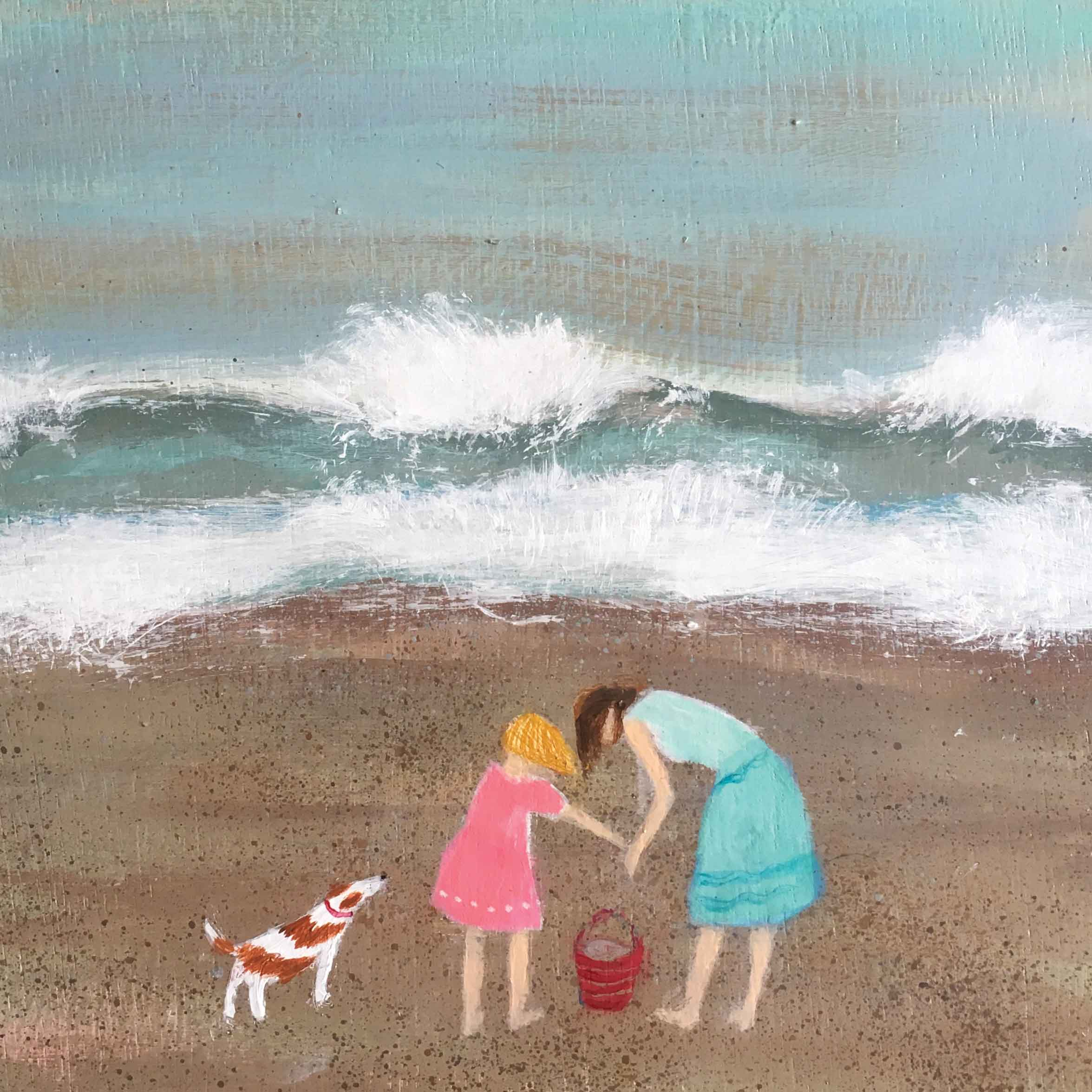 Art greeting card by Barbara Peirson, acrylic, two girls on the beach with a dog and a bucket