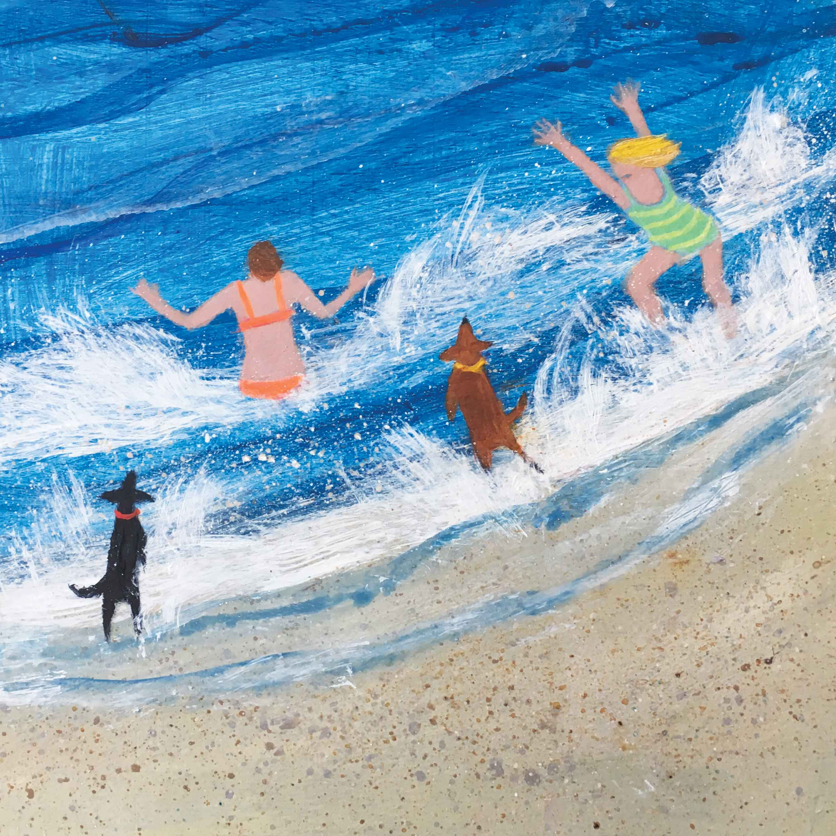 Art greeting card by Barbara Peirson, acrylic, two women and two dogs swimming