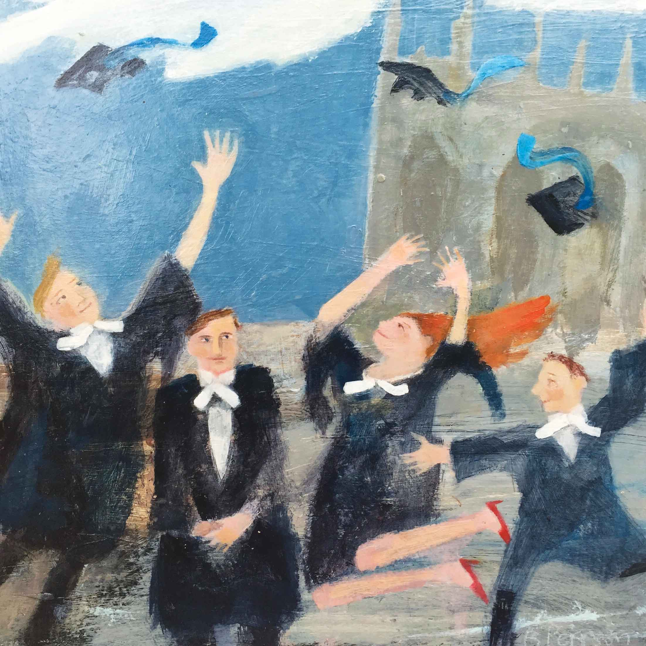 Art greeting card by Barbara Peirson, acrylic, graduates throwing hats in the air