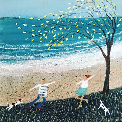 Art Greeting Card by Barbara Peirson, Let's Dance, Acrylic painting, man and woman dancing by the sea with two dogs