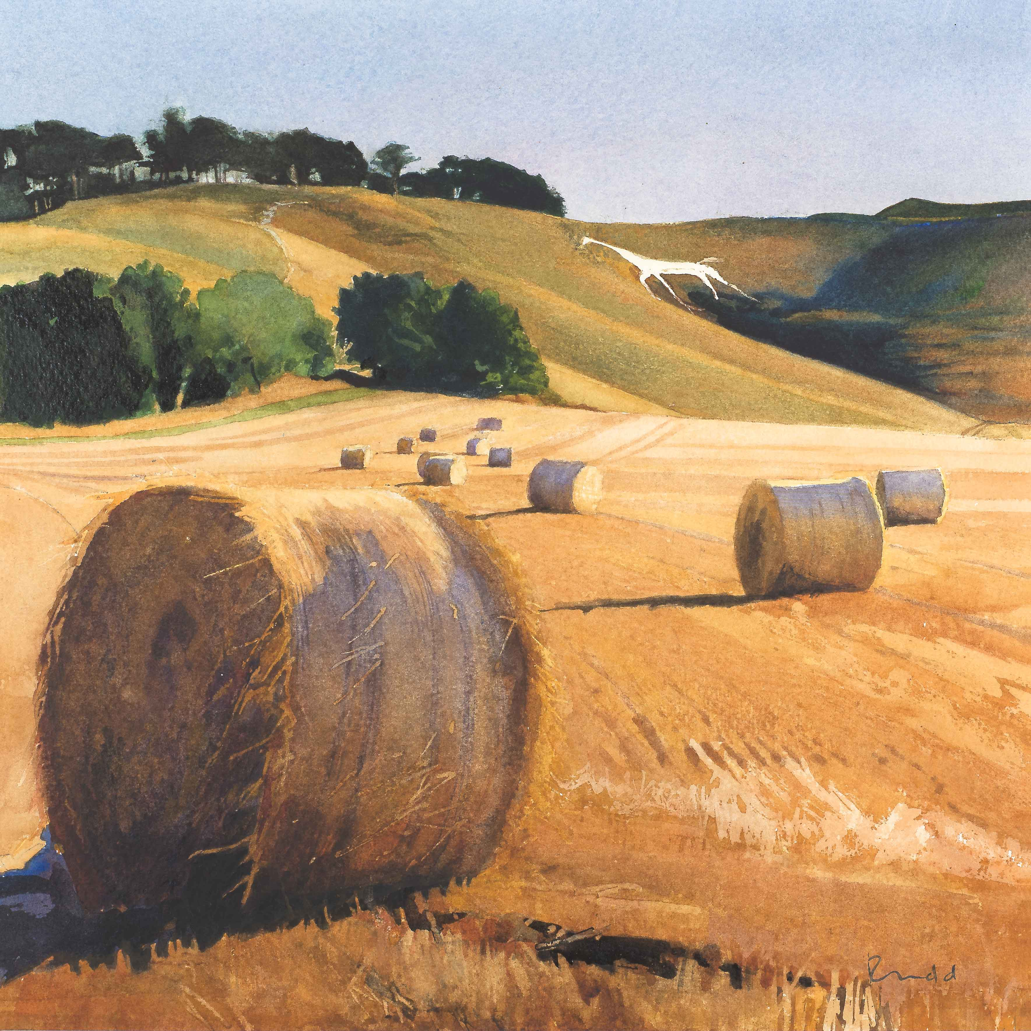 Art greeting card by Bob Rudd, Hay bales in the fields