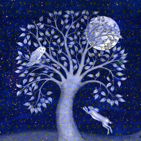Art greeting card by Kate Green, Blue Winter, Mixed media, tree with owl and moon, hare