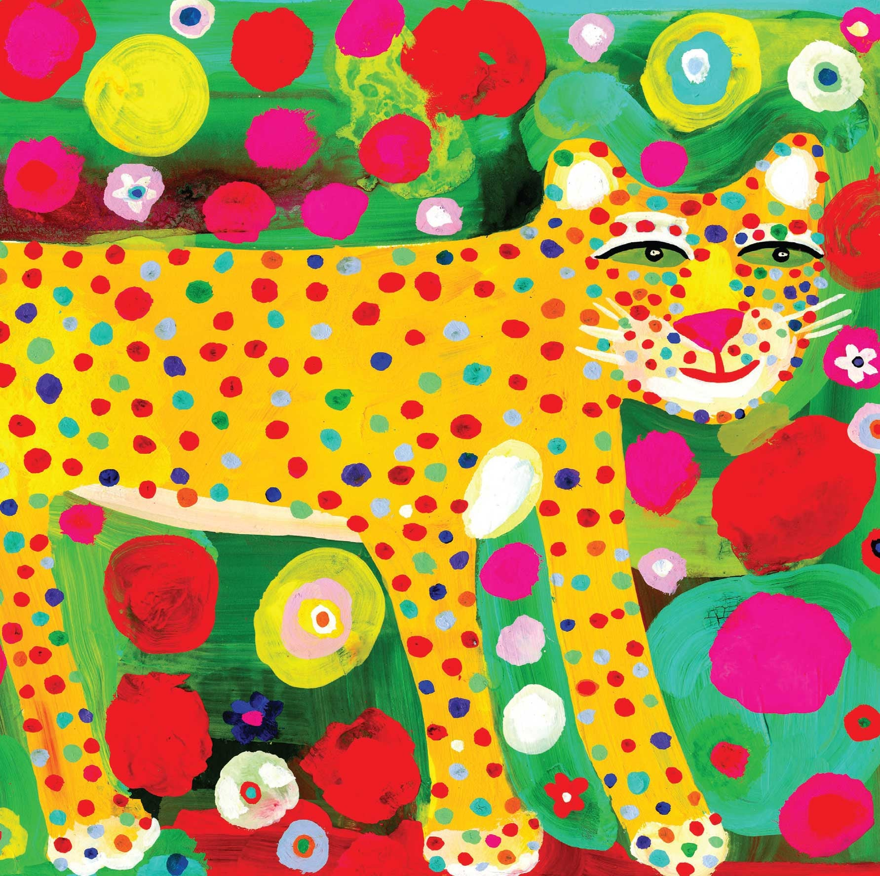 Art Greeting Card, Gouache on Paper, Colourful leopard