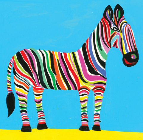 Art Greeting Card, Gouache on Paper, Rainbow zebra