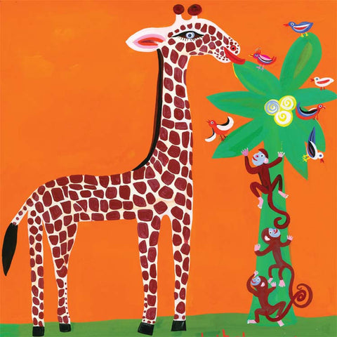 Art Greeting Card, Gouache on Paper, Giraffe and monkeys