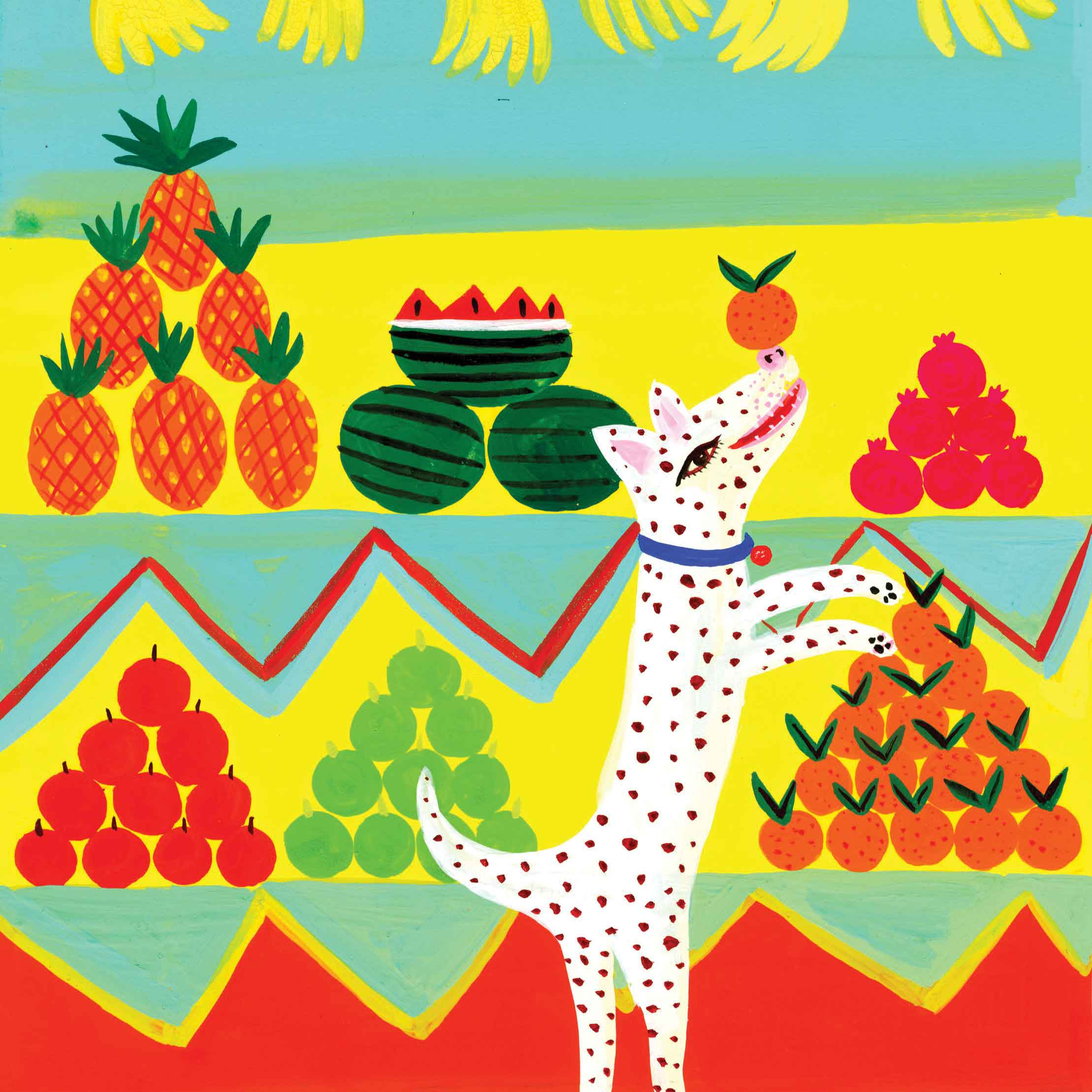 Dog with Orange by Christopher Corr, Art Greeting Card, Gouache on Paper, Dog balancing orange on his nose