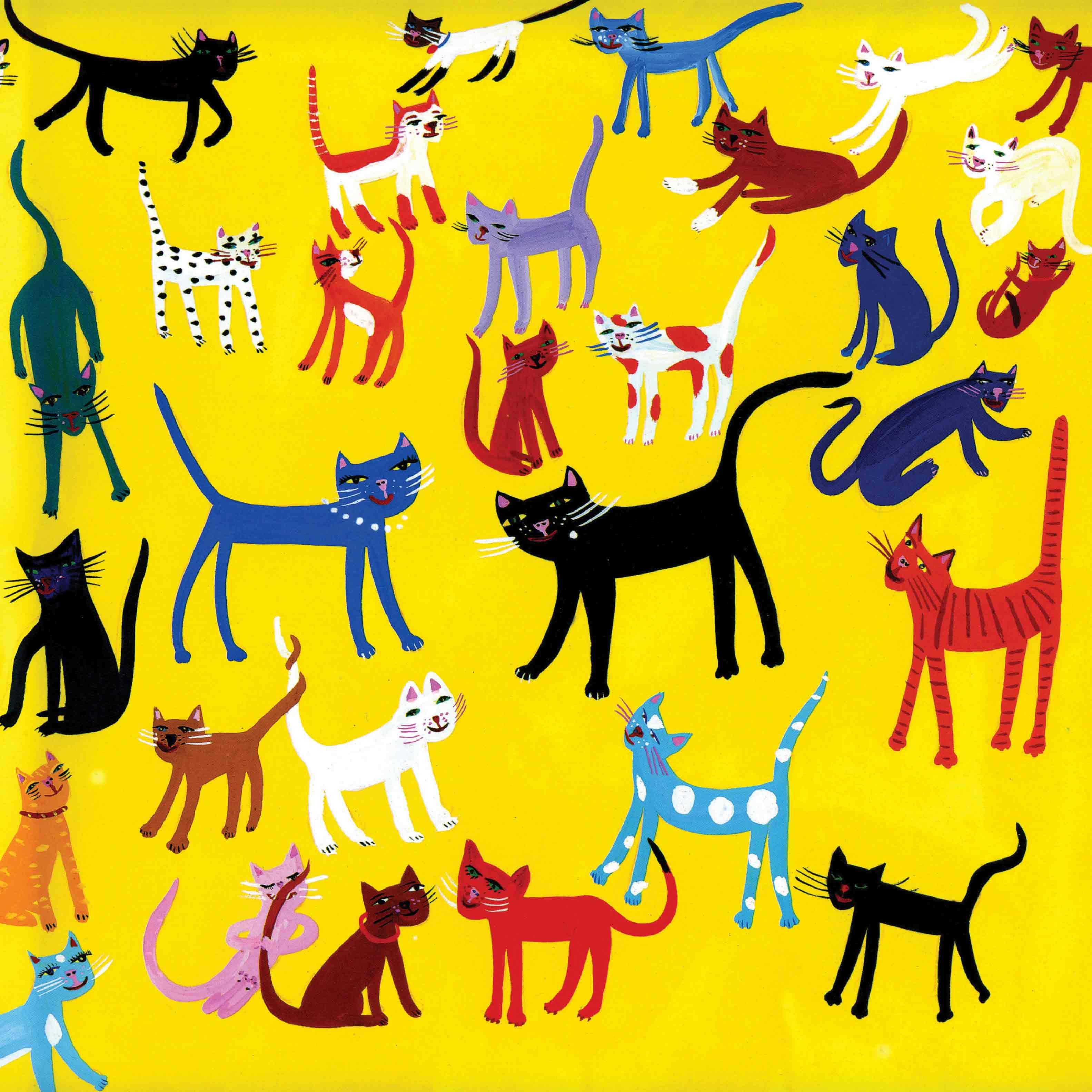 Art Greeting Card by Christopher Corr, Cats, Gouache on Paper, Lots of cats
