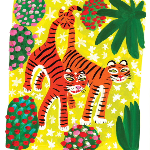 Art Greeting Card by Christopher Corr, Two Tigers, Gouache on Paper, Two tigers hanging from a tree