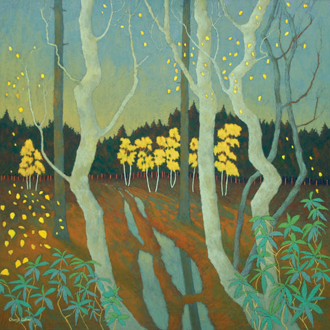 A Shower of Gold by Cheryl Culver, Fine Art Greeting Card, RBA range, Golden winter forest