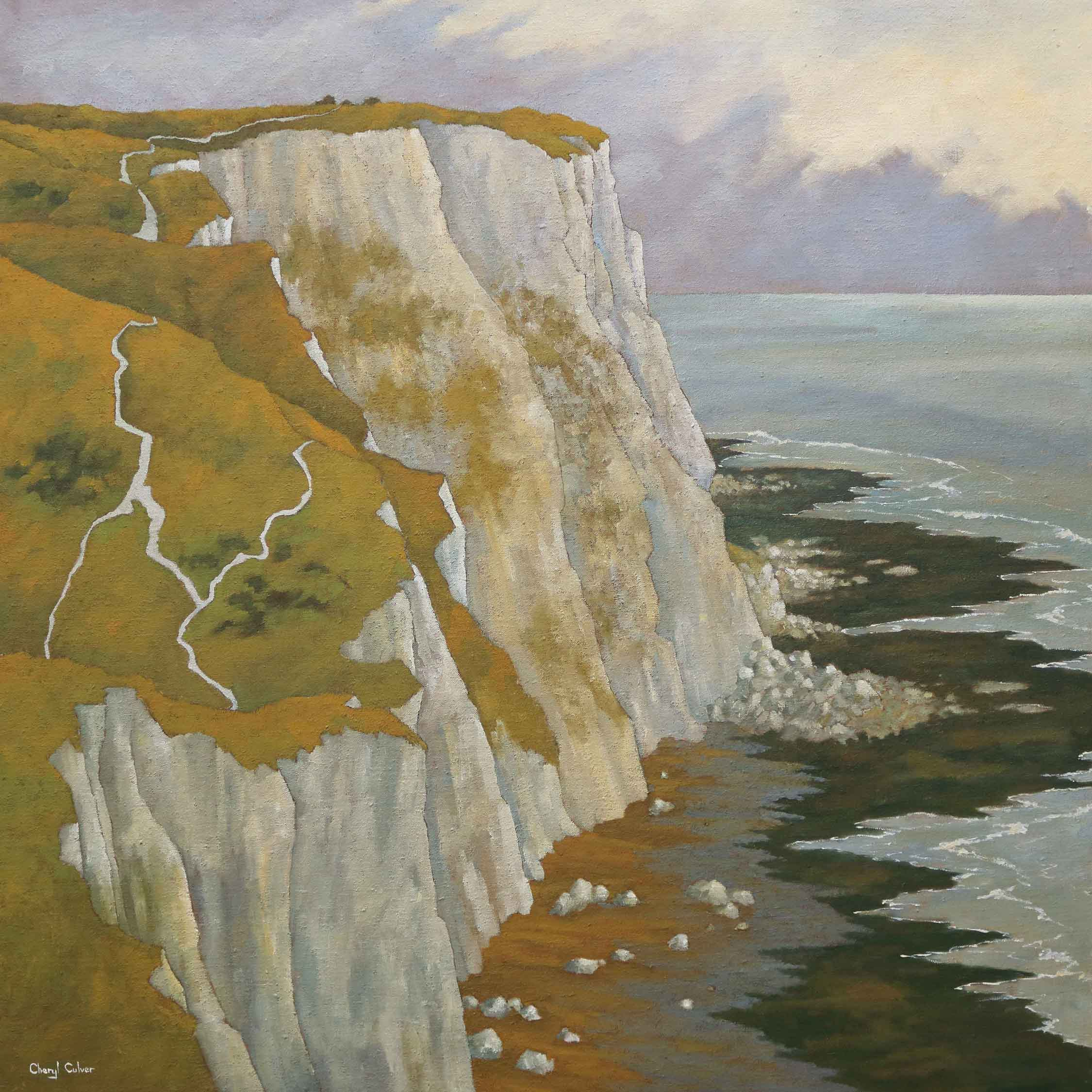 Art greeting card by Cheryl Culver, Seascape with cliffs