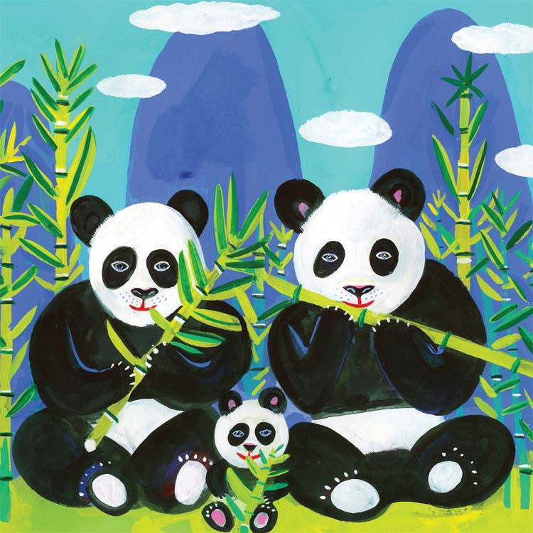 Art Greeting Card, Gouache on Paper, Panda family of three
