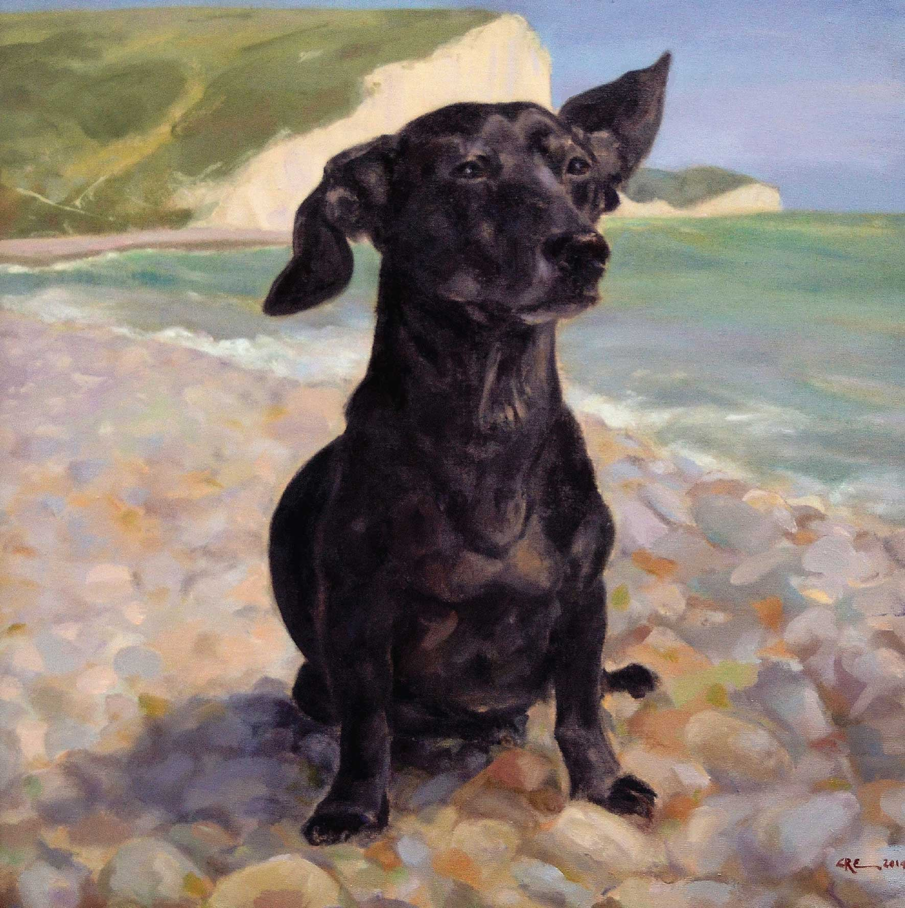 Patrick by Claire Eastgate, Fine Art Greeting Card, Oil on Linen, Dog on pebbly beach