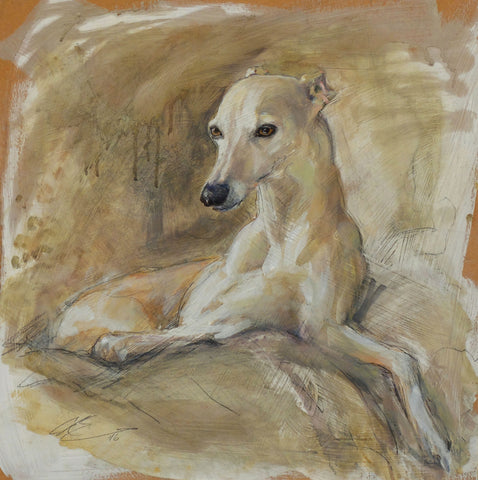Sable by Claire Eastgate, Fine Art Greeting Card, Mixed Media on Board, Whippet lying down