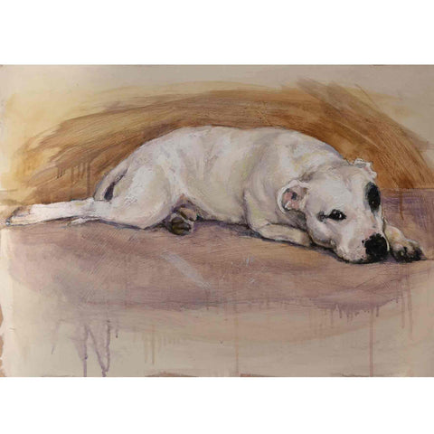 Fine Art Greeting Card by Claire Eastgate, Mixed Media, Dog resting