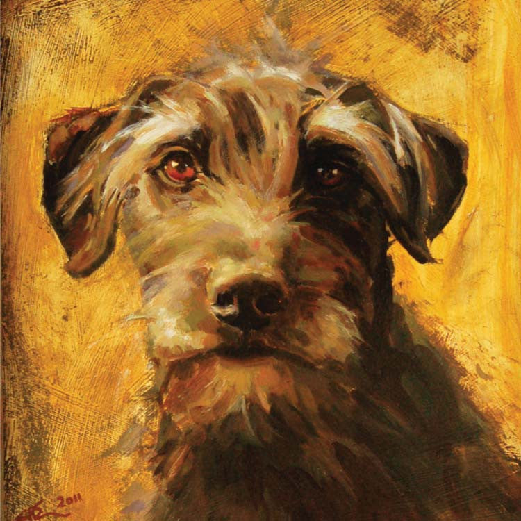 Max by Claire Eastgate, Fine Art Greeting Card, Oil on Board, Grey terrier