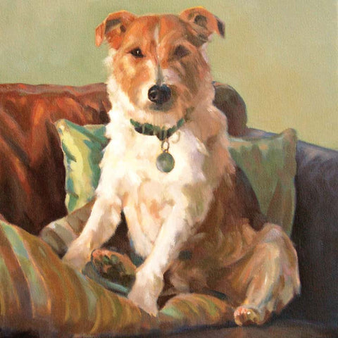 Ollie by Claire Eastgate, Fine Art Greeting Card, Oil on Canvas, Jack Russel on cushions