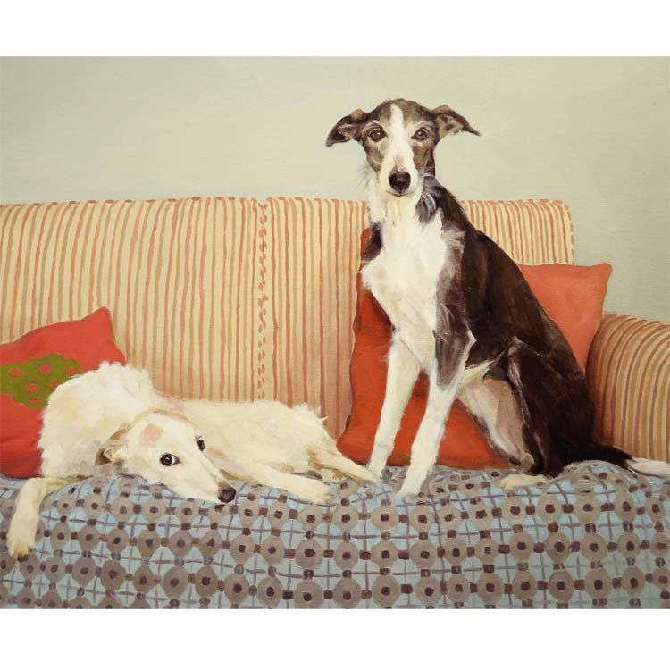 The Shirtfronts by Claire Eastgate, Fine Art Greeting Card, Oil on Canvas, Two lurchers on a sofa